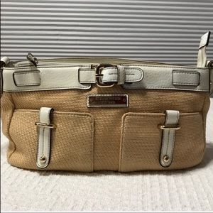 Etienne Aigner tan and white women's shoulder bag